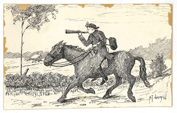 Man riding horse illustration