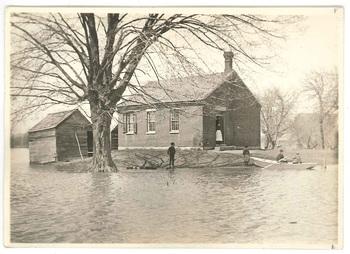 The Hockanum schoolhouse after flood, 1895