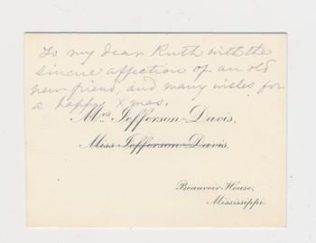 Ruth Burgess notecard from Varina Jefferson-Davis