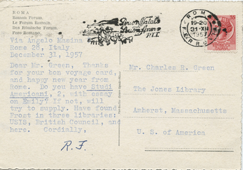 Postcard from Robert Francis to Charles Green, December 31, 1957