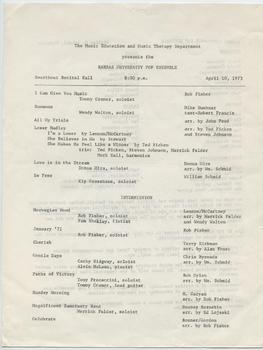 Kansas University Pop Ensemble recital program, April 10, 1973