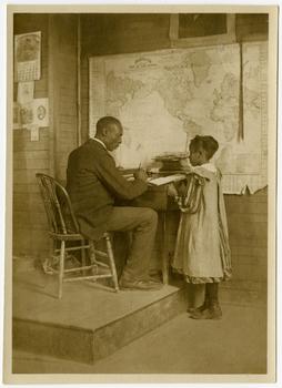 A girl pupil and the teacher