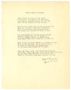 """Robert Frost in Amherst"" poem by Robert Francis"