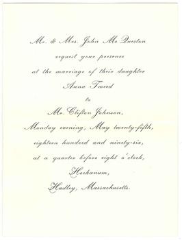 Clifton Johnson and Anna McQueston's wedding invitation, 1896