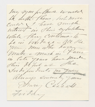 Ruth Burgess letter from Mary Cassatt
