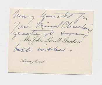 Ruth Burgess notecard from Mrs John Gardner [Isabella Stewart Gardner]