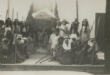 Play given by orphans at hilltop orphanage, Sidon, Lebanon