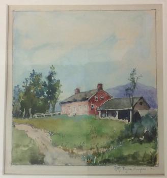 Ruth Burgess Red Farmhouse VT watercolor