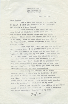 Letter from Robert Francis to Nonny Burack, December 19, 1967