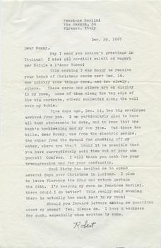 Letter from Robert Francis to Nonny Burack, December 19, 1967