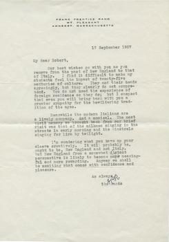 Letter from Frank Prentice Rand to Robert Francis, September 17, 1957