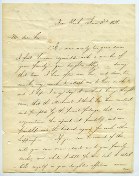 Letter from Joseph Stoddard Lathrop to Abigail Pomeroy's father