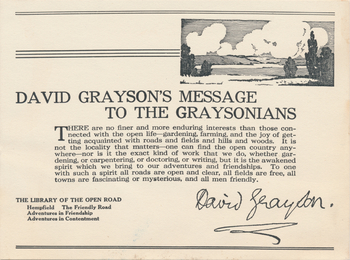 David Grayson's message to the Graysonians