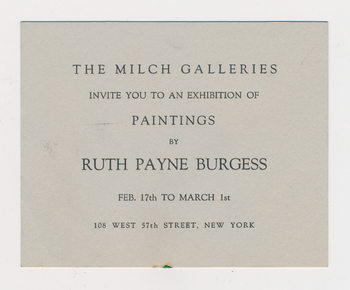 Ruth Burgess Milch Galleries exhibition announcement