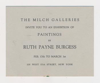 Ruth Burgess Milch Galleries exhibition announcement