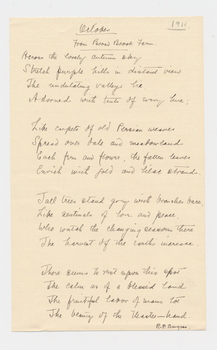 Ruth Burgess handwritten poem