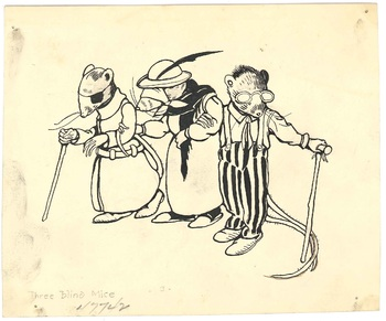Illustration of Mother Goose rhyme <em>Three Blind Mice</em>